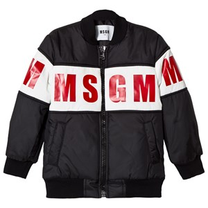 Image of MSGM Black and Red Logo Bomber Jacket 10 years (3060377017)