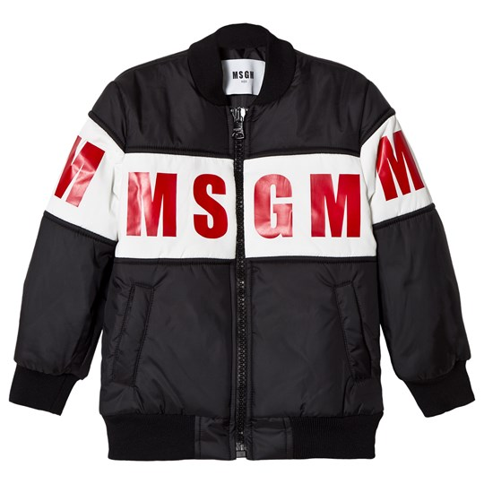 MSGM Black and Red Logo Bomber Jacket 110