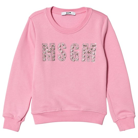 MSGM Pink Jewelled Logo Sweatshirt 42