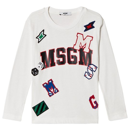 MSGM White Logo Patch Long Sleeve Tee 2