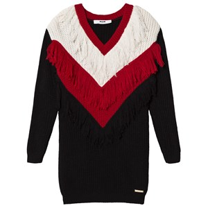 Image of MSGM Black and White Knit Tassle Jumper Dress 10 years (3060377147)