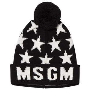 Image of MSGM Black and White Star and Logo Beanie 10-14 years (3060377165)