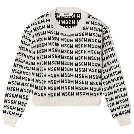 MSGM White All Over Logo Cropped Knit Jumper 2
