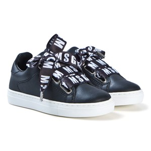 Image of MSGM Black Leather Sneakers with Branded Laces 33 (UK 1) (3060377181)