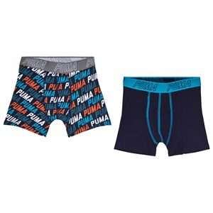 Image of Puma 2-Pack Logo Boxers Blue/Orange 122/128 cm (3060381591)