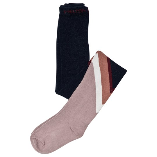 Melton Power Tights Navy/Pink Marine