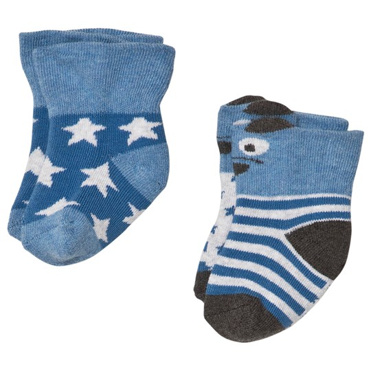 Melton 2-Pack Terry Baby Socks Bear/Stars Blue Delft Blue
