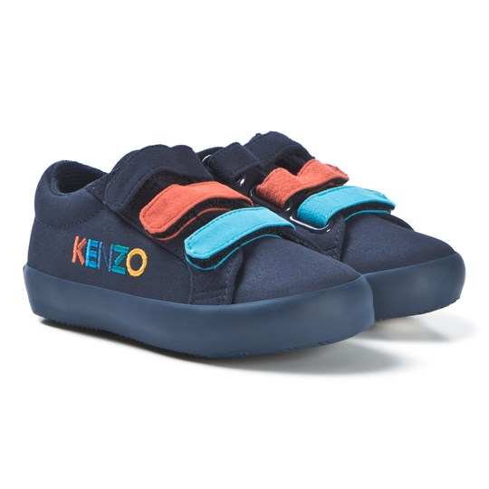 Kenzo Navy Embroidered Velcro Trainers 04