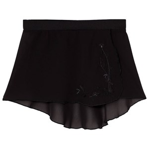 Image of Mirella Black Embroidered Georgette Wrap Skirt 12-14 years (3060378583)