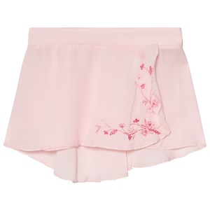 Image of Mirella Pink Embroidered Georgette Wrap Skirt 2-4 years (3060378585)