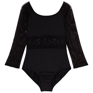 Image of Mirella Black Embroidered ¾ Sleeves Leotard 12 years (3060378605)