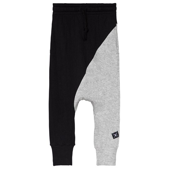 NUNUNU Half & Half Baggy Pants Black and Heather Grey BLACK & HEATHER GREY