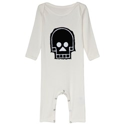 NUNUNU Skull Patch Robot Playsuit White