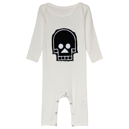 NUNUNU Skull Patch Robot Playsuit White White