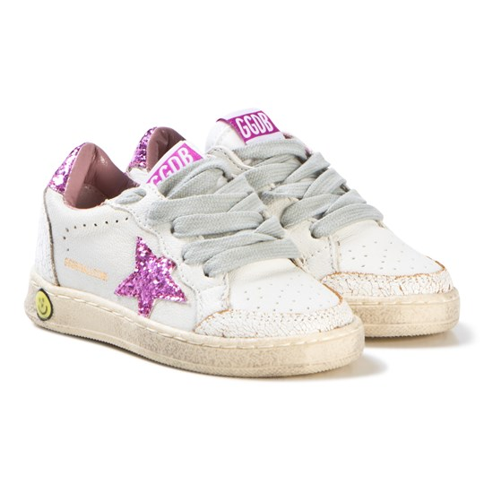 Golden Goose White Leather and Pink Glitter Ball Star Sneakers WHITE PINK GLITTER