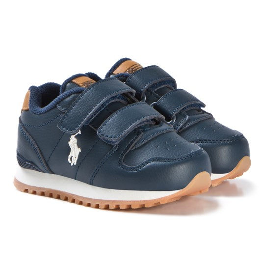 Ralph Lauren Navy Tumbled Leather Velcro Oryion EZ Sneakers Marinblå