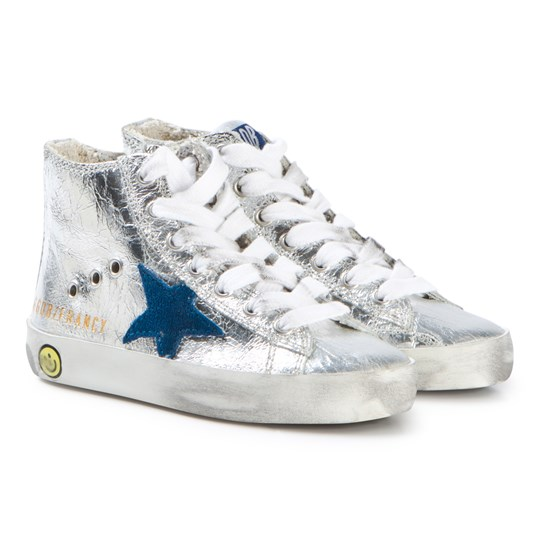 Golden Goose Silver and Blue Star Francy Top Sneakers IGLOO LEATHER-BLUESTAR