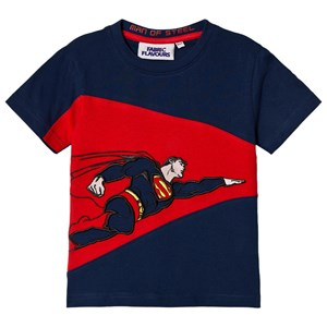 Image of Fabric Flavours Navy and Red Superman Man Of Steel T-Shirt 7-8 years (3060376867)