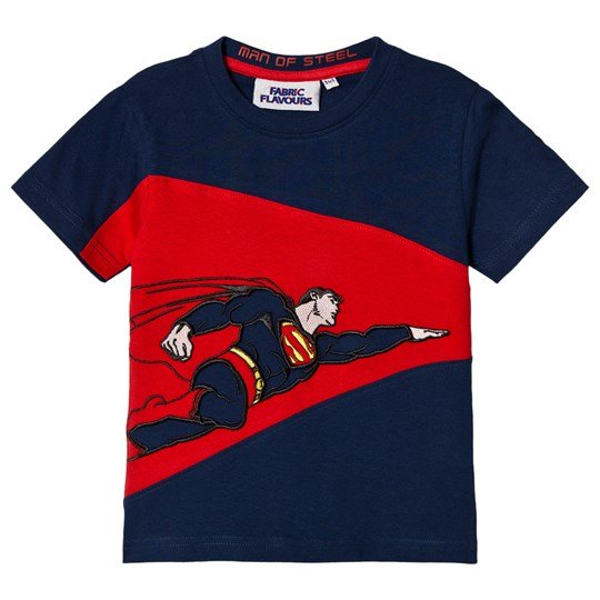 Fabric Flavours Superman Man Of Steel T-shirt Röd BLUE & RED