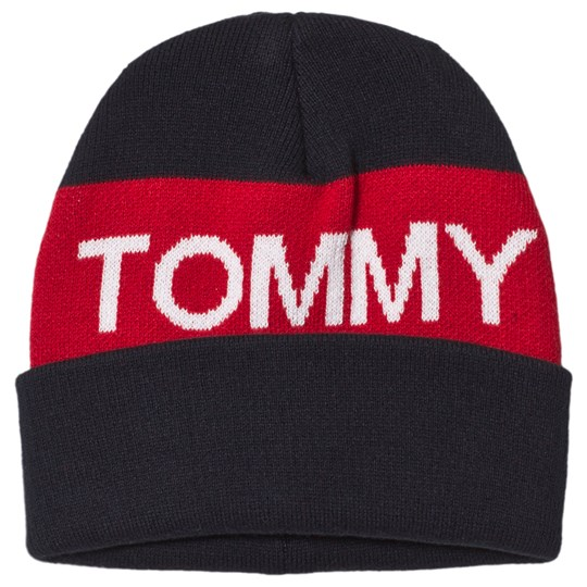 Tommy Hilfiger Navy and Red Branded Beanie 901