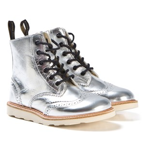Image of Young Soles Silver Leather Sidney Zip and Lace Leather Boots 33 (UK 1) (3060377229)