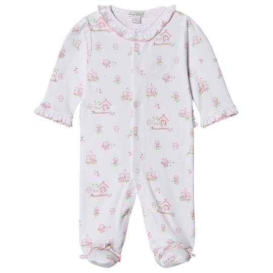 Kissy Kissy White Pink Owl Print Footed Baby Body WHITE WONDERFULLY WISE