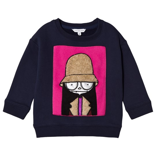 Little Marc Jacobs Navy Sweatshirt with Miss Marc Fur Patch 85V