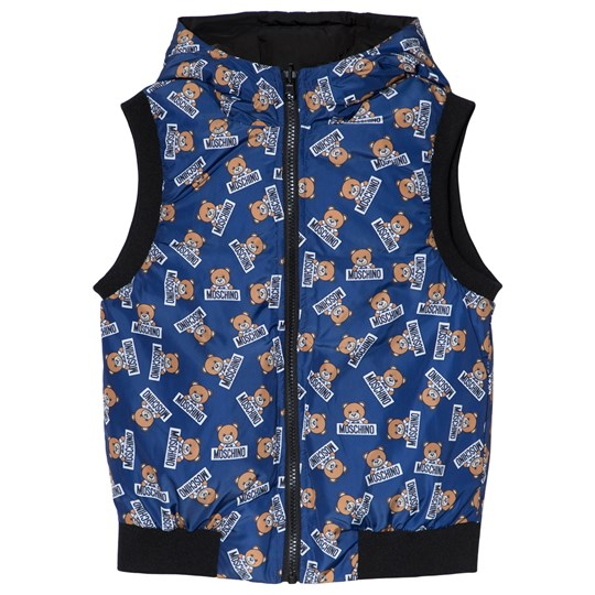 Moschino Kid-Teen Blue Bear Reversible Down Hooded Gilet 83977