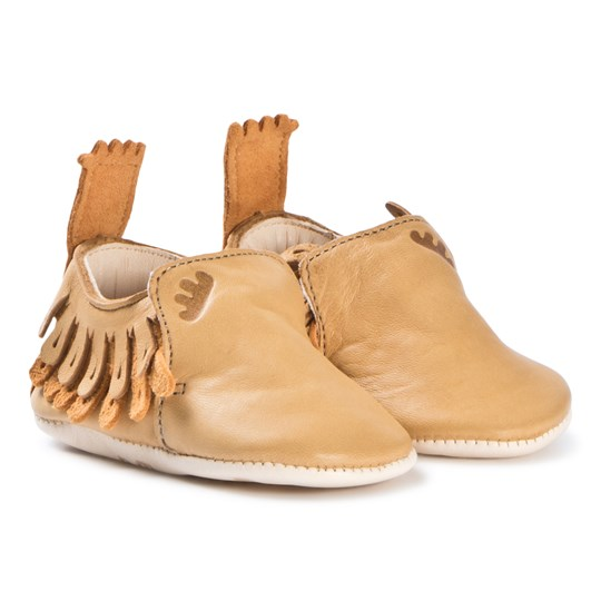 Easy Peasy Tan Moccasin Frangette Crib Shoes 066
