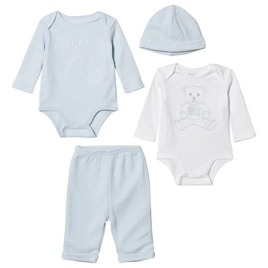 Ralph Lauren Blue and White Bodies, Sweatpants and Beanie Gift Set 001