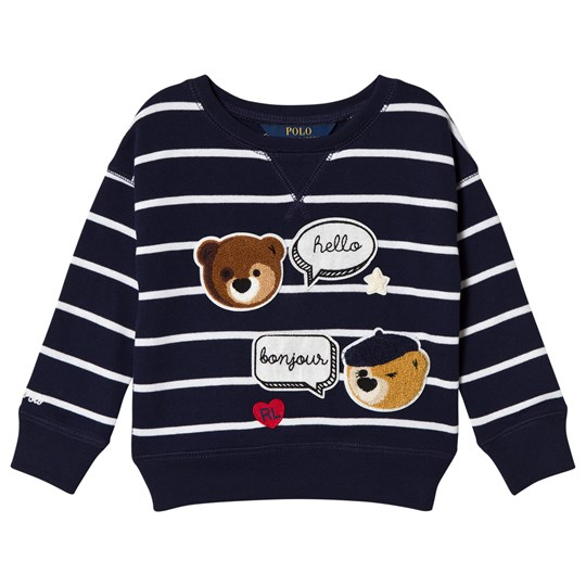 Ralph Lauren Navy Bear Print Stripe Jumper 001