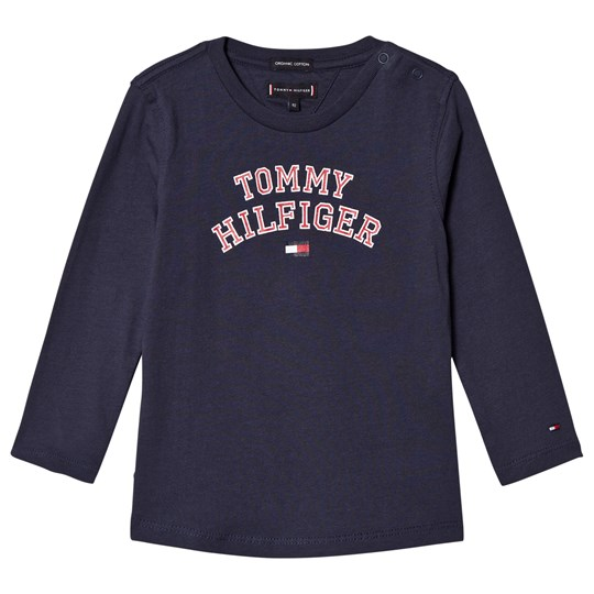 Tommy Hilfiger Navy Branded Long Sleeve Tee 002