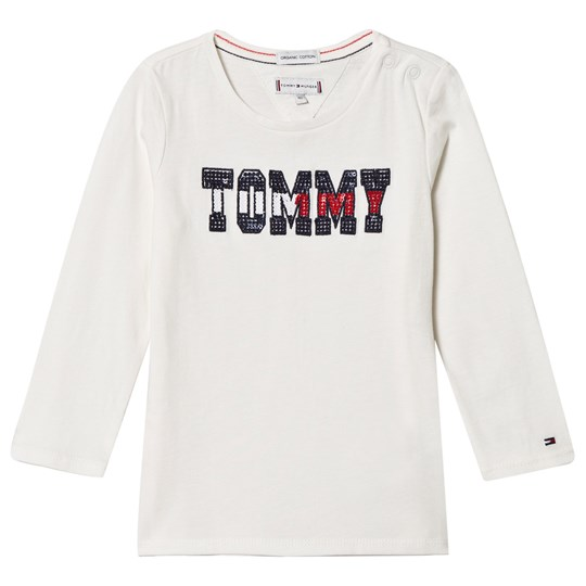 Tommy Hilfiger White Sequin Branded Long Sleeve Tee 118