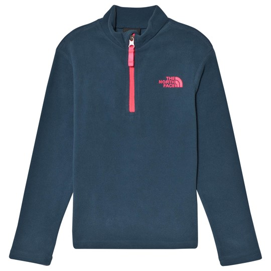 The North Face Navy & Pink Detail Glacier 1/4 Zip Micro Fleece Mid Layer Blue Wing Teal