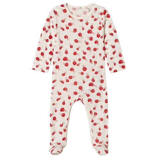 Stella McCartney Kids White and Red Twiddle Footed Baby Body 9087 - Lady Bugs Pr