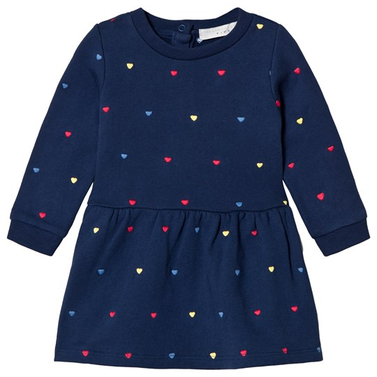Stella McCartney Kids Navy Bretta Dress with Embroidered Hearts 4099 - Embro Hearts