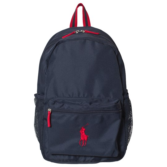 Ralph Lauren Navy Nylon Academy Backpack with Red PP Navy