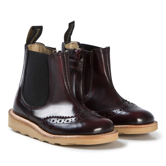 Young Soles Oxblood Patent Leather Francis Brogue Boots OXBLOOD HIGH SHINE LEATHER
