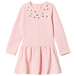 Image of Le Chic Pink Relief Sweat Dress with Black Spot Print 128 (7-8 years) (3065522655)