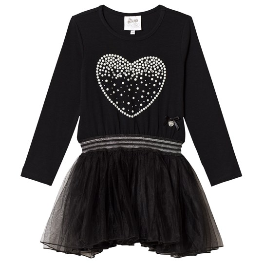 Le Chic Black Petitcoat Dress with Pearl Heart Print Black