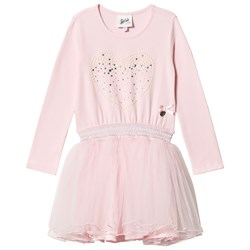 Le Chic Pink Petitcoat Dress with Pearl Heart Print