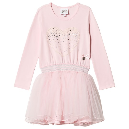 Le Chic Pink Petitcoat Dress with Pearl Heart Print Pink