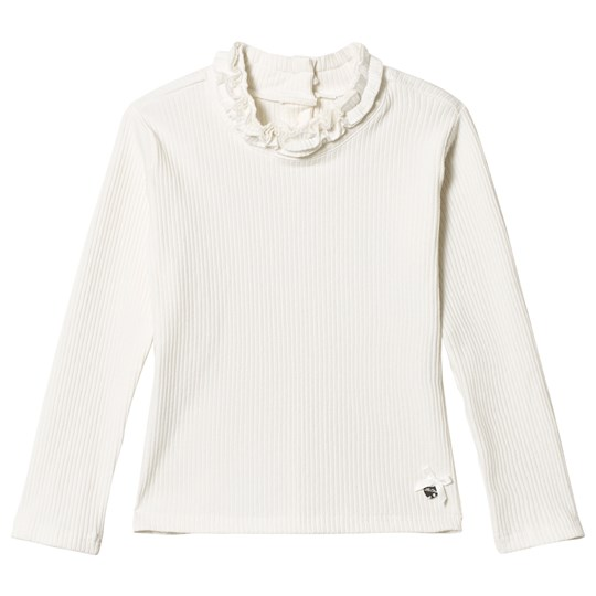 Le Chic Off White Ruffled Neck Long Sleeve Tee Off white