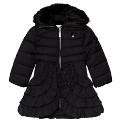 Le Chic Black Padded Coat with Ruffled Bottom and Faux Fur Collar