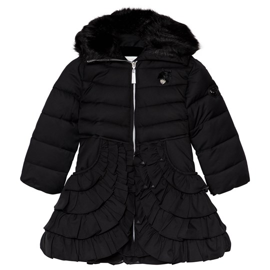 Le Chic Black Padded Coat with Ruffled Bottom and Faux Fur Collar Black