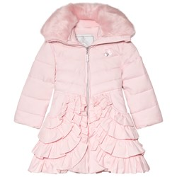Le Chic Dusty Pink Padded Coat with Ruffled Bottom and Faux Fur Collar