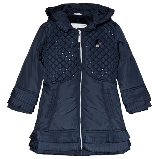 Le Chic Navy Sequin Quilted Coat Navy