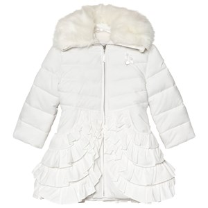 Image of Le Chic Off White Padded Coat with Ruffled Bottom and Faux Fur Collar 164 (13-14 years) (1128295)