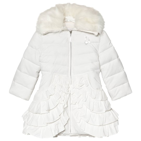 Le Chic Off White Padded Coat with Ruffled Bottom and Faux Fur Collar White