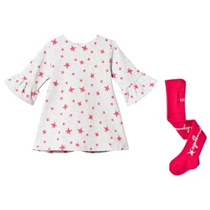 Image of Agatha Ruiz de la Prada Grey with Pink Star Jersey Dress with Fluted Sleeves with Tights 12 months (3065520197)